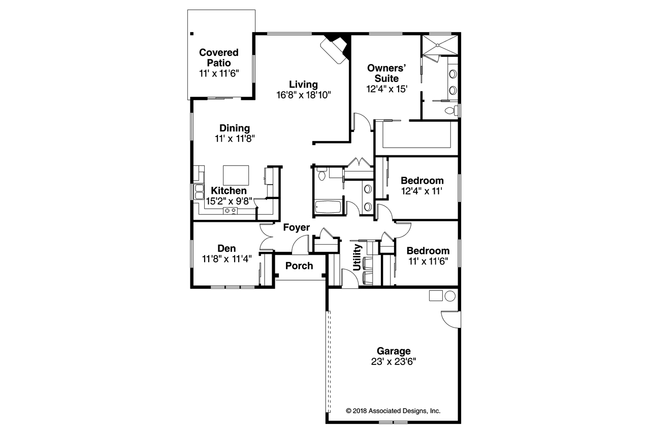Holyoke 31-093, Ranch House Plan, Flex Room