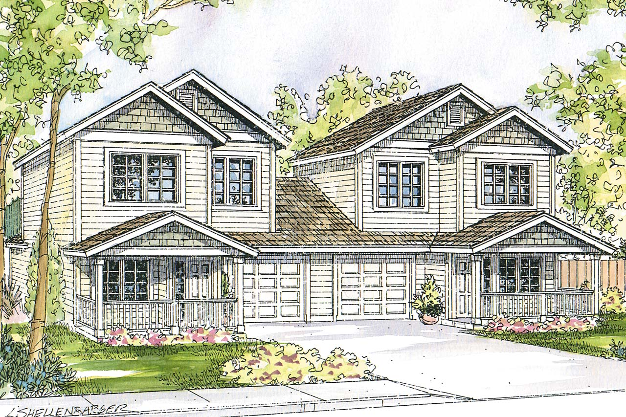Featured House Plan of the Week, Duplex Plan, Multifamily Plans, Cartersville 60-017