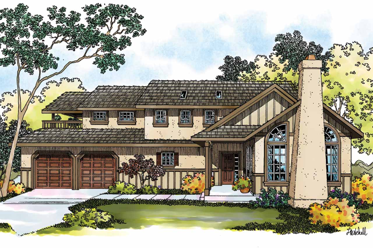Tudor House Plan - Walcott 30-166 - Front Elevation
